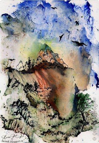 Картина панно рисунок Мастер-класс Монотипия Монотипия Мастер-класс Акварель Бумага фото 1