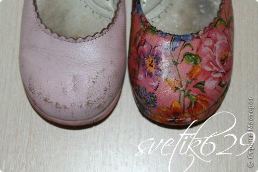Обновила дочурке туфельки .Первый опыт декупажа на обуви) фото 2