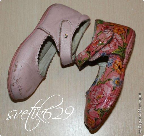 Обновила дочурке туфельки .Первый опыт декупажа на обуви) фото 3