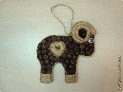 Мастер-класс Поделка изделие Новый год Аппликация кофейные барашки символ2015 Кофе Шпагат фото 15