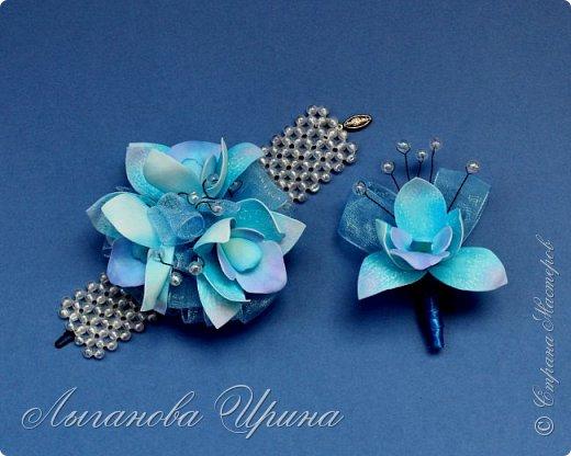 Продолжаю осваивать новый для себя материал - фоамиран. Это ободок с пионовидной розой и гортензией. фото 3