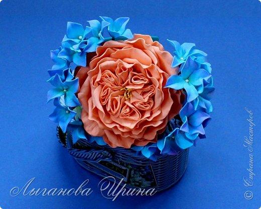 Продолжаю осваивать новый для себя материал - фоамиран. Это ободок с пионовидной розой и гортензией. фото 1