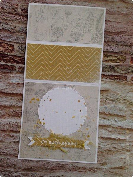 """Ну вот, я вышла из """"отпуска"""" . Показываю первую открыточку 2017 года, которой запускаю механизм переработки бумажных запасов:)))  А то дома столько бумаги, что страшно стало:))) Горнично-оливковая гамма доминирует.  фото 6"""