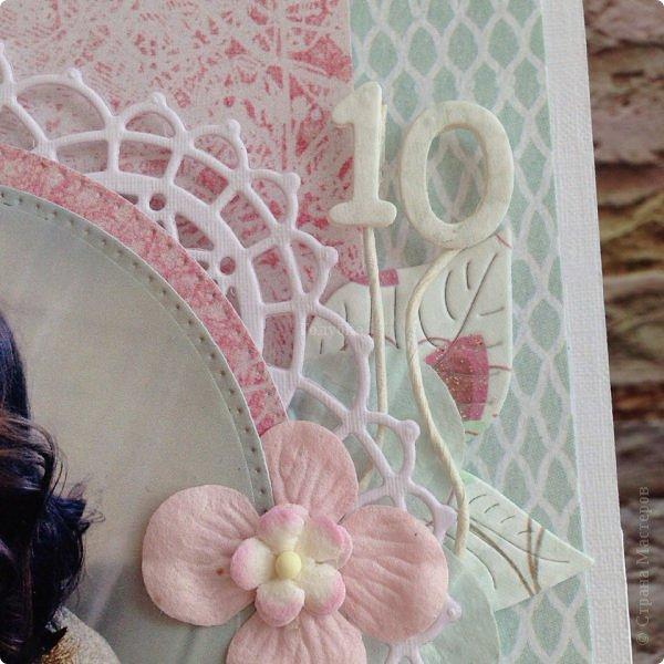 Еще одна памятная  юбилейная открытка с фотографией ! Там очаровательная принцесса с мечтой в глазах! Открытка стойка , тяжеленькая, не смотря на ее зефирность:) фото 4