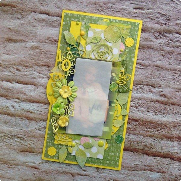 Ой, совсем забыла показать третью открытку с фотографией.  На юбилей юной барышне. Пожелания были по цветовой гамме, поэтому пришлось немного изменить цвета в фотографии, чтоб пазл сошелся:) Горячий эмбоссинг. фото 2
