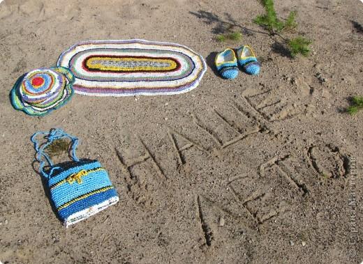 комплект для пляжа связан крючком из полиэтиленовых пакетов фото 1