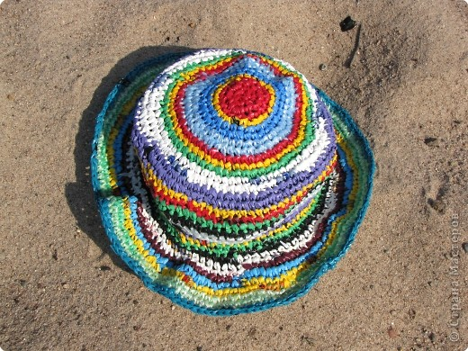 комплект для пляжа связан крючком из полиэтиленовых пакетов фото 4