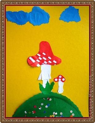 Мухоморчик комочки из пластилина (мозаика) Старшая группа №3 Смирнова Аня фото 4