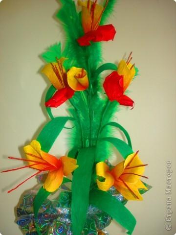 Цветы из гофрированной бумаги. фото 1