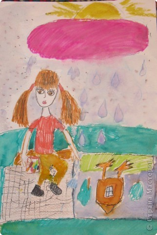 Интересно рисовать на асфальте под тёплым летним дождиком