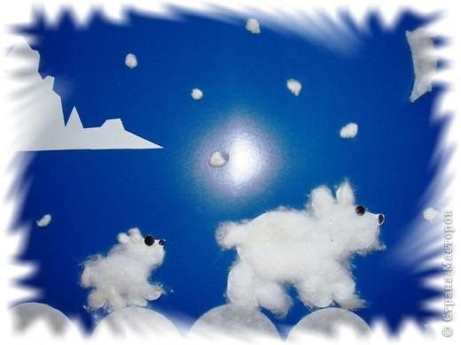 Мы попробовали  создать образ картины далекого, дикого Севера, где вечная мерзлота, где темные, как ночь, так и день. И там гуляет со своим малышом белая медведица. А в далеке виднеется кусочек айсберга.