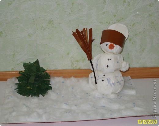 Эту композицию я сделала на новогодний школьный конкурс. Мне очень хотелось сделать доброго и веселого  снеговика. По-моему, у меня это получилось.