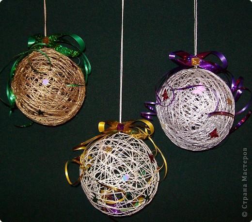 Вот такие  новогодние шары у меня получились.  фото 1