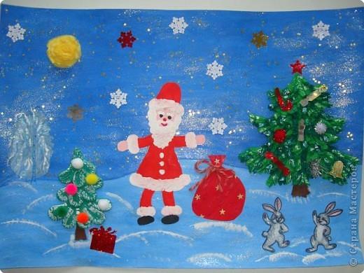Вот такую новогоднюю открытку мы приготовили для нашей бабушки. фото 1