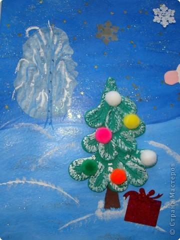 Вот такую новогоднюю открытку мы приготовили для нашей бабушки. фото 2