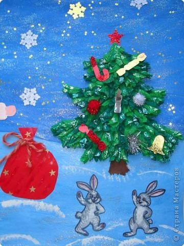 Вот такую новогоднюю открытку мы приготовили для нашей бабушки. фото 4