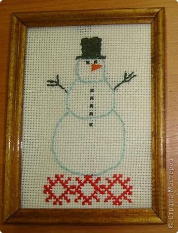 Вышитый снеговик
