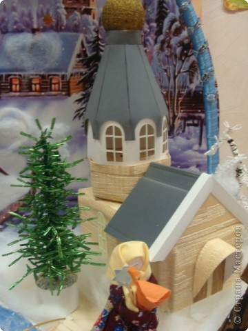 """Общий вид. Это большая работа. Трудились над ней всем нашим дружным коллективом более месяца.  Композиция """"Рождество"""" сделана в подарок всем жителям  и гостям г.Строитель к Новому Году и Рождеству. Находится на выставке в Православном центре. фото 7"""