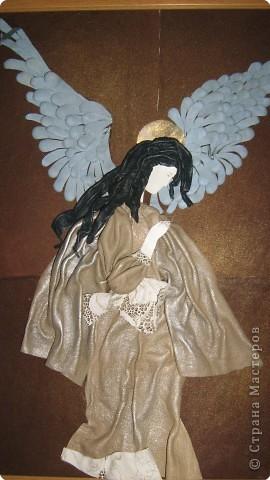 """Панно из кожи """"Мой нежный ангел"""""""