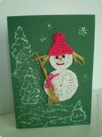 А у меня получился не снеговик, а забавная снеговичка с хвостиками