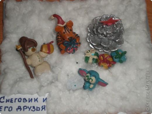 Пластилиновый снеговик с друзьями