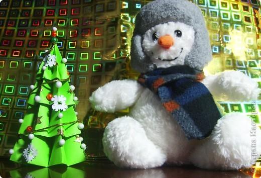 У нашего снеговичка совсем не было друзей. Я решила ему преподнести необычный подарок. Необычен он тем, что он так же как и снеговик является символом зимы и самого приятного праздника Нового года. А так же тем, что на ёлочке любимые снежинки снеговичка. фото 1