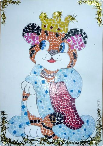 Мозаика из кусочков цветной бумаги фото 1