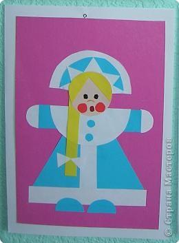 Вот такую забавную снегурку можно смастерить, использовав разные геометрические фигуры