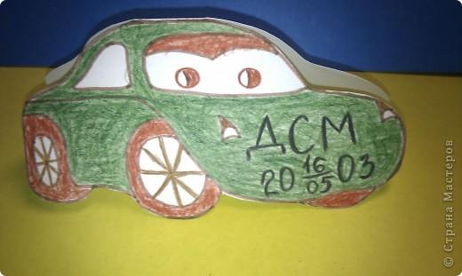 """Я очень люблю  зелёный цвет, люблю рисовать, играть в машинки и смотреть мультик """"Тачки"""", поэтому моя звёздная карточка получилась такая"""