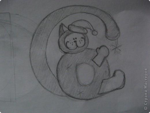 """Вот такая получилась у меня монограмма. Первая буква моей фамилии """"С"""", первая буква имени """"В"""". """"В"""" - это котик (головка и животик), """"С"""" - это его хвостик. фото 7"""
