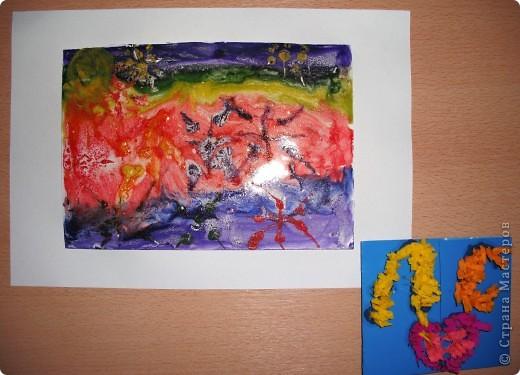 Эти звезды, синяя и желтая, сделанные из соли, покрашенной гуашью, мои первые насыпушки.  Получилось не очень похоже, но я старалась. фото 8