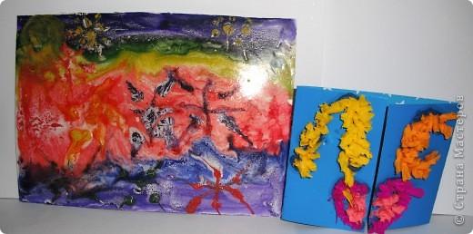 Эти звезды, синяя и желтая, сделанные из соли, покрашенной гуашью, мои первые насыпушки.  Получилось не очень похоже, но я старалась. фото 9