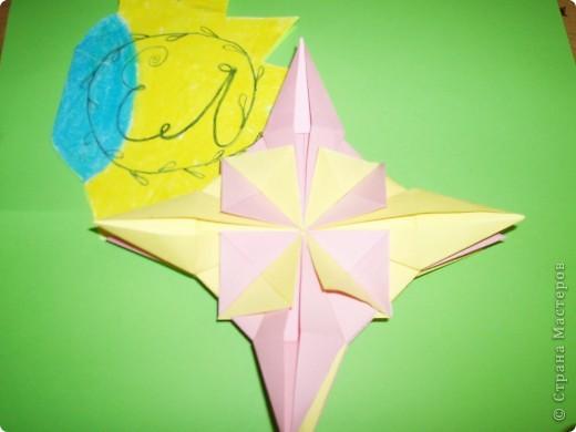 """Моя звезда состоит из трёх видов модулей. 8 модулей """"Звездолёт"""" лежат в основе, 8 модулей """"Стрела"""" между ними, и 8 модулей """"Шаттл"""" вставила в кармашки модулей """"Стрела"""". фото 6"""