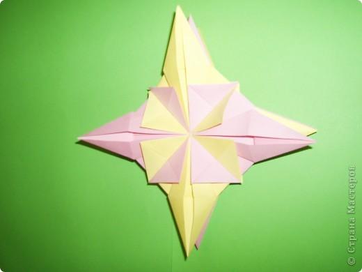 """Моя звезда состоит из трёх видов модулей. 8 модулей """"Звездолёт"""" лежат в основе, 8 модулей """"Стрела"""" между ними, и 8 модулей """"Шаттл"""" вставила в кармашки модулей """"Стрела"""". фото 7"""