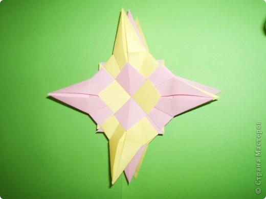 """Моя звезда состоит из трёх видов модулей. 8 модулей """"Звездолёт"""" лежат в основе, 8 модулей """"Стрела"""" между ними, и 8 модулей """"Шаттл"""" вставила в кармашки модулей """"Стрела"""". фото 8"""