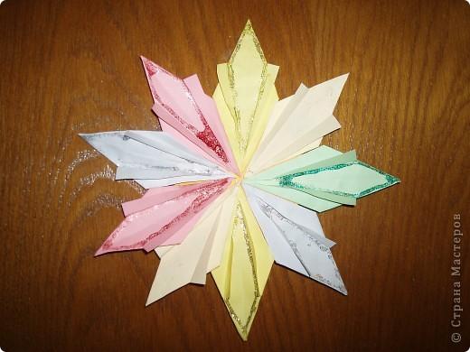 """Моя звезда состоит из трёх видов модулей. 8 модулей """"Звездолёт"""" лежат в основе, 8 модулей """"Стрела"""" между ними, и 8 модулей """"Шаттл"""" вставила в кармашки модулей """"Стрела"""". фото 9"""