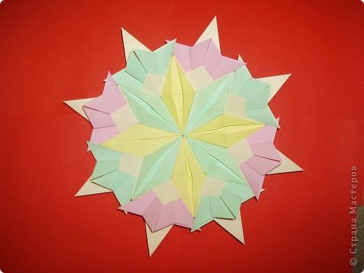 """Моя звезда состоит из трёх видов модулей. 8 модулей """"Звездолёт"""" лежат в основе, 8 модулей """"Стрела"""" между ними, и 8 модулей """"Шаттл"""" вставила в кармашки модулей """"Стрела"""". фото 1"""