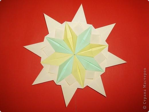 """Моя звезда состоит из трёх видов модулей. 8 модулей """"Звездолёт"""" лежат в основе, 8 модулей """"Стрела"""" между ними, и 8 модулей """"Шаттл"""" вставила в кармашки модулей """"Стрела"""". фото 4"""
