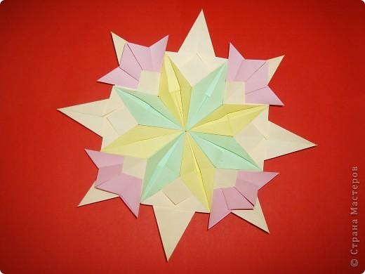 """Моя звезда состоит из трёх видов модулей. 8 модулей """"Звездолёт"""" лежат в основе, 8 модулей """"Стрела"""" между ними, и 8 модулей """"Шаттл"""" вставила в кармашки модулей """"Стрела"""". фото 3"""