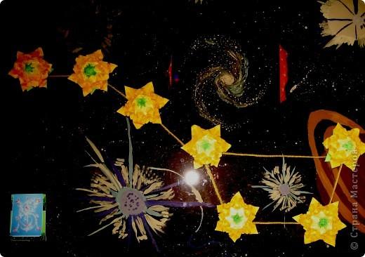 """Тема № 1.  """"Моя звезда"""". МОДУЛИ: Крылья – 8 штук Ракета  - 8 штук Шаттл – 8 штук Стрела – 4 штуки  Звезда Альфа Центавра А (Ригель).     Коля: «Откуда вы?»  Инопланетяне: «С Альфы Центавра. Знаешь? Тамошние мы»  Кир Булычёв «Гостья из будущего».     Моя звезда - Альфа Центавра А. Это одна из звёзд тройной звёздной системы Альфа Центавра, в которую так же входят Альфа Центавра В и красный карлик Проксима Центавра (открыт лишь в 1915 году шотландцем Робертом Иннесом).  Звёзды Альфа Центавра А и В по характеристикам близки к Солнцу. Это тоже жёлтые звёзды, с температурой на поверхности приблизительно 6000 градусов. Самая яркая звезда в системе Альфа Центавра – А, в древности её называли Ригель (нога) Центавра. Она известна землянам с древнейших времён, являясь 4-й по яркости звездой на ночном небе Земли. Удивительно, что все звёзды этого созвездия вращаются вокруг одного центра тяжести. Это созвездие – ближайшее к нашей планете и находится на расстоянии 4,36 световых лет .  В 2008 году учёные Калифорнийского университета в Санта-Крузе Грег Лауфлин и Хавера Гедес пришли к выводу, что там вероятно существование каменистых планет с жидкой водой, планет пригодных для жизни.  Пока я подбирала этот материал, у меня «кружилась» голова от этих космических высот и далей.  Per aspera ad astra!   фото 3"""