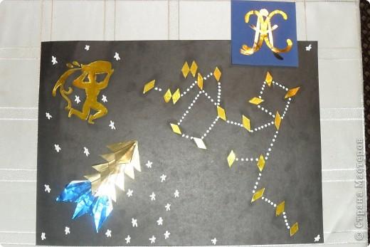 Тренировочный полёт. Моя звезда  «АХ».  Свою яркую космическую звездочку я выполнил из 8 модулей «крылья», из четырех модулей «стрела», но сделал «стрелу» не выгнутыми уголками, и из четырех  модулей «шаттл». Расположил я ее, на синем фоне изображая тем самым звездное небо.  Моя звездочка напоминает мне радостное восхищение, поэтому мне хочется назвать ее  моими  инициалами «АХ». Про свою звездочку я сочинил стишок:                                               АХ, какая звездочка!                                               Светит просто «АХ»,                                               «АХ» какая яркая!                                               Как искорка в глазАХ.                                                 Техника оригами принесла мне много удовольствия. Сколько можно придумать разных звездочек.        фото 2