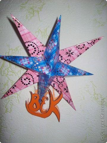 """Тема 1. Это моя необычная звёздочка. Её зовут """"Тайна"""".  Сделал я звёздочку из 2 модулей """"Крылья"""" (зелёные), 2 модулей """"Шаттл"""" (розовые), 2 модулей """"Стрела"""" (серебристые), 4 модулей """"Звездолёт"""" (сиреневые), и 6 модулей """"Ракета"""" (оранжевые). фото 3"""