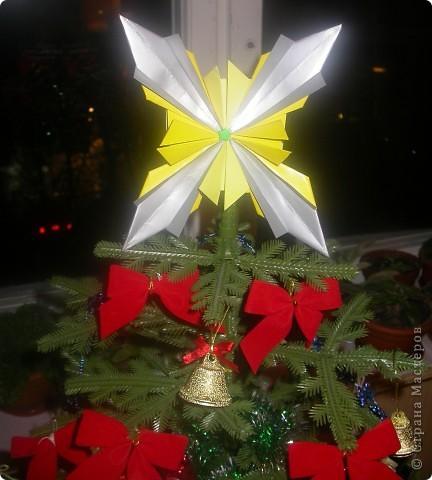 Моя звезда.  Моя звезда новогодняя и весит у меня на ёлке с верху,рядом с бантиками и колокольчиками. Необычную звезду на ёлке заметили мои друзья,им понравилось. фото 1