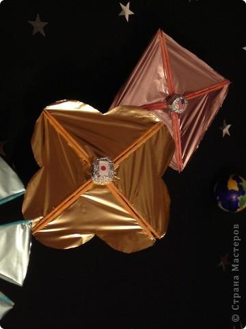 Тема 1.  Конструируем космические корабли. Папа рассказал мне, что читал в детстве рассказ  Артура Кларка «Солнечный ветер». В нем описывалась космическая регата, в которой участвовали  яхты с огромными парусами. Мне стало интересно, вымысел ли это? Решили найти информацию. Как оказалось, солнечный парус был изобретён русским учёным Ф. А. Цандером в 20 – х годах XX века. Идея работы солнечного паруса проста: космический корабль раскрывает в космосе большое полотно – парус – которое отражает или  поглощает солнечный свет. Солнечный парус работает от давления солнечного света.  В 1989г. США объявили о проведении «космической регаты». Предполагалось вывести на орбиту  солнечные парусные корабли и устроить космические гонки под парусами до Марса. Старт должен был состояться в 1992 году.Регата не состоялась из–за нехватки денег. Мы с папой решили провести собственную регату: отправить три космических парусника к Луне. Для этого папа сделал каркас парусников, а я наклеила полисилк и сделала из фольги корпус корабля.     фото 4