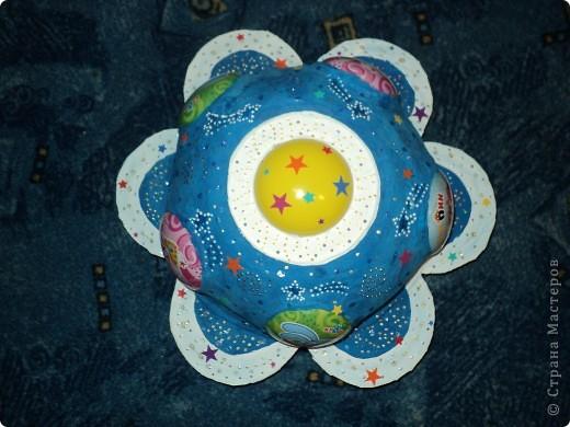 """Тема 1. Космические корабли. Вот мой корабль с планеты """"Смешариков"""". В виде главной эмблемы мультфильма, синего цветочка. фото 1"""
