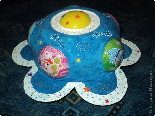"""Тема 1. Космические корабли. Вот мой корабль с планеты """"Смешариков"""". В виде главной эмблемы мультфильма, синего цветочка. фото 3"""