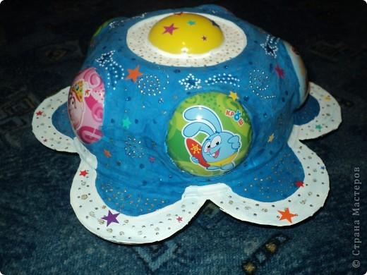 """Тема 1. Космические корабли. Вот мой корабль с планеты """"Смешариков"""". В виде главной эмблемы мультфильма, синего цветочка. фото 5"""