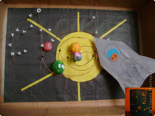 Ракета. (Планеты сделаны из папье маше) фото 1