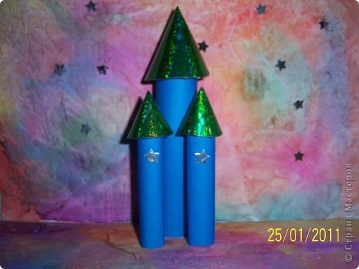 """Здравствуйте,   Дорогие жители Страны Мастеров! К вашему вниманию представляю ракету - носитель """"Звезда-11"""". Которую я связала на спицах. Из синей пряжи. фото 7"""
