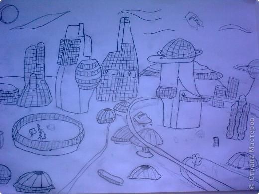Я решила начать с проекта города будущего. Этот город называется Квики. В этом городе машины могут летать, люди могут жить и работать в самых необычных домах. фото 1